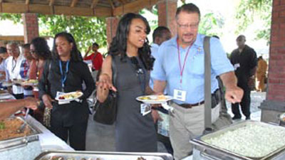 The delegation with the Haiti Support Project enjoyed lunch at the Sugarcane Museum in Port Au Prince before a flight to tour historical sites in Cap Hatien, in northern Haiti.