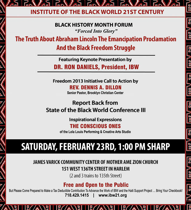 Black History Month Forum - Saturday, February 23rd @1:00PM