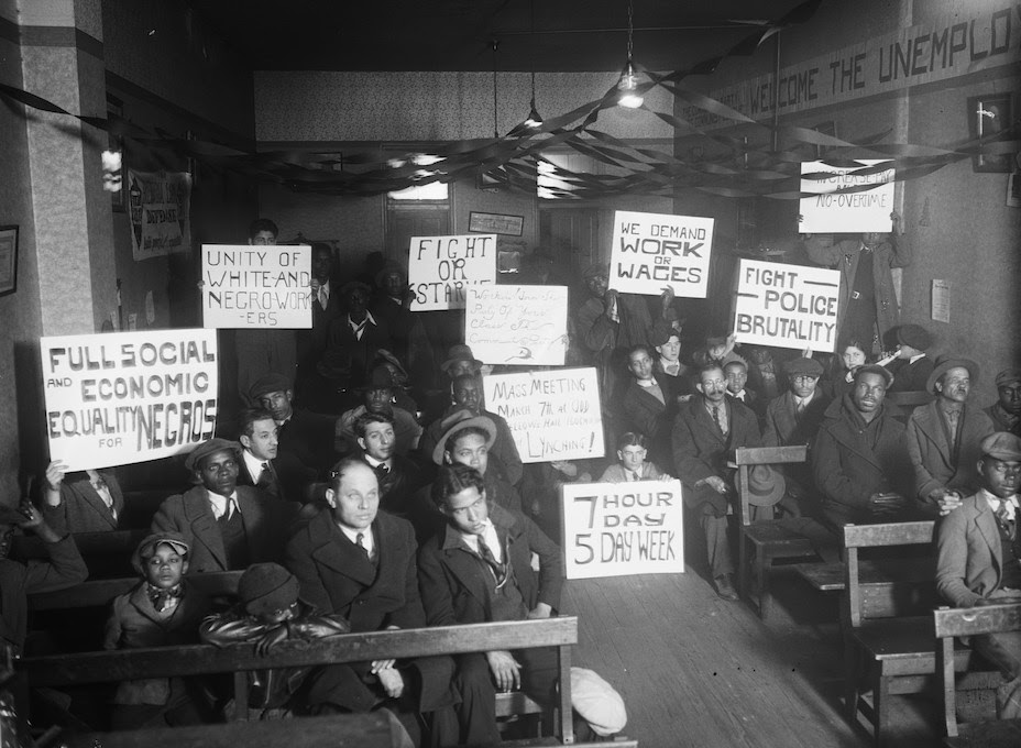 A 1930 unemployment rally  at local Communist Party headquarters in Washington, DC. Library of Congress