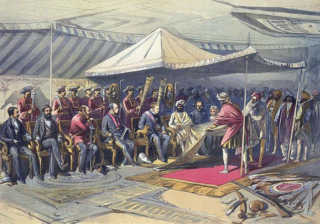 Viceroy Lord Canning meets Maharaja Ranbir Singh of Jammu & Kashmir, 9 March 1860.