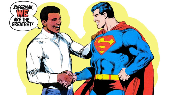 An image from when iconic boxer Muhammad Ali fought the Man of Steel in the comics.