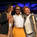 #BlackLivesMatter co-founders Opal Tometi, Alicia Garza and Patrisse Cullors appear onstage during a breakfast honoring them by the New York Women's Foundation  on May 14, 2015, in New York City.