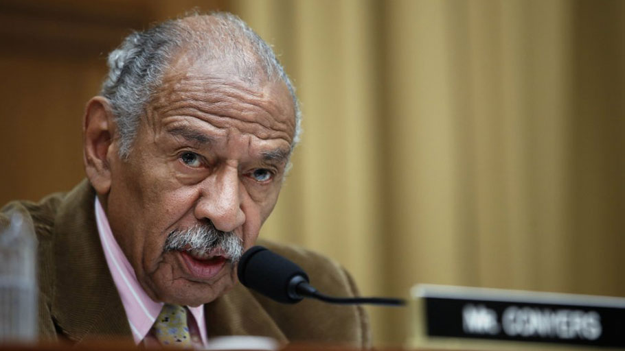 Rep. John Conyers, D-Mich., speaks during a hearing of the House Judiciary subcommittee on Crime, Terrorism, Homeland Security, and Investigations, on Capitol Hill in Washington on April 4, 2017.Alex Brandon/AP