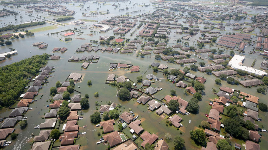 Flooding caused by Hurricane Harvey in Southeast Texas on August 31, 2017 (Air National Guard photo by Staff Sgt. Daniel J. Martinez/Released)