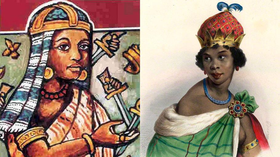 Renderings of Kongolese leaders: Fig. 2 (left) Beatriz Kimpa Vita (aka Nsimba Vita) ca. 1686-1706. Fig. 3 (right) Queen Njinga Mbande (aka Nzinga) 1583-1663.