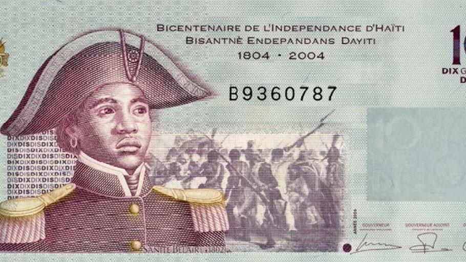 Image of revolutionary solider Sanité Bélair on a bicentennial 1804-2004 Haitian Gourde (monetary unit)