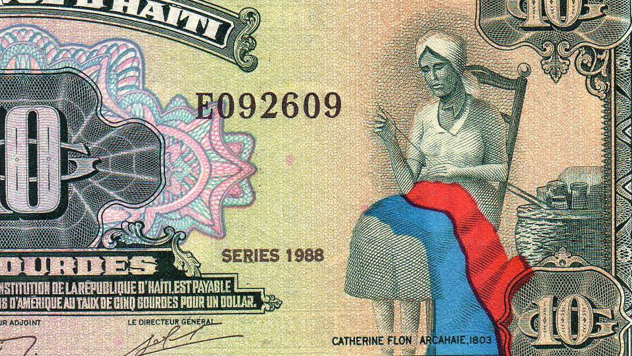Image of Catherine Flon, Haitian flag designed and maker commemorated on a unit of 10 Gourdes.