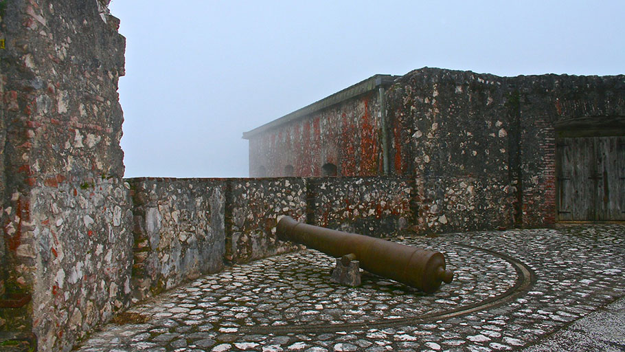 One of hundreds of canons at the La Citadel Laferrière in Haiti, built 1807-1823 by 23,000 Haitian men and women under the direction of Emperor Jean Jacques and supervision of General Henry Christophe. Photo-credit: Dowoti Désir. 2011