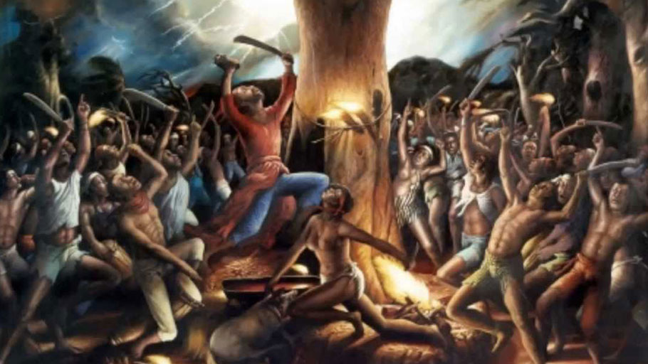 Painting depicting the events at Bwa Kayiman, artist unidentified