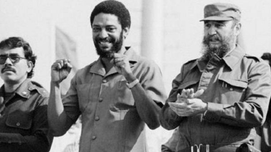 Grenada's Maurice Bishop (C) with Daniel Ortega from Nicaragua and Cuba's Fidel Castro