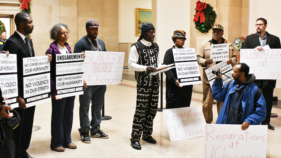 PROTESTORS AT CITY HALL demand reparations from the University of Chicago, which profited from the sale of land donated by slaveowner Stephen A. Douglas. (Photo by Robert Earl) By Patrick Forrest, Chicago Crusader