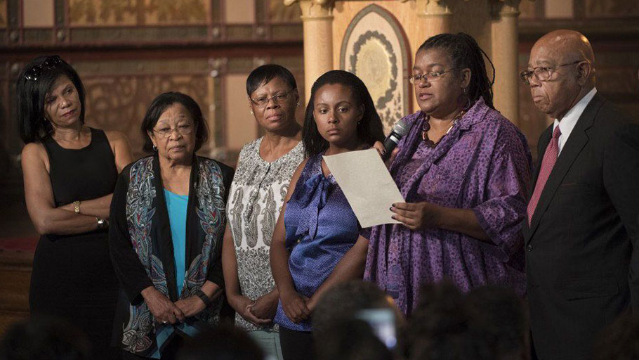 Slave descendants, left to right: Sandra Green Thomas, Patricia Bayonne-Johnson, Zeita Kemp, Melissa Kemp, Karran Harper Royal and Joseph Steward speak at Georgetown University at an April 2017 gathering to announce atonements for the school's 19th century slavery history in Washington.((Linda Davidson, The Washington Post))