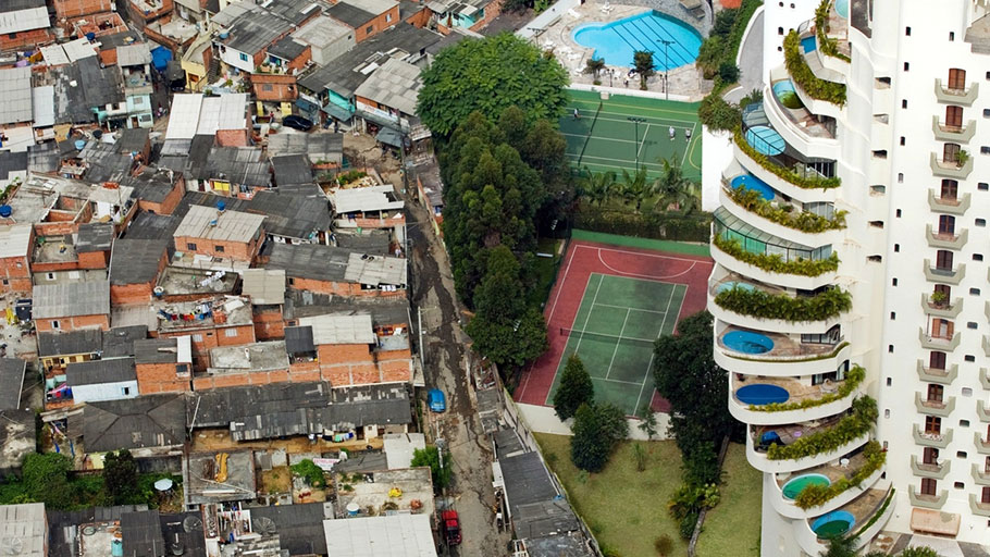 A shantytown in São Paulo, Brazil, borders the affluent Morumbi district.
