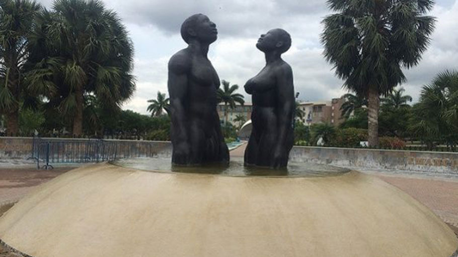 A statue commemorating the struggle against slavery at Jamaica's Emancipation Park in Kingston.