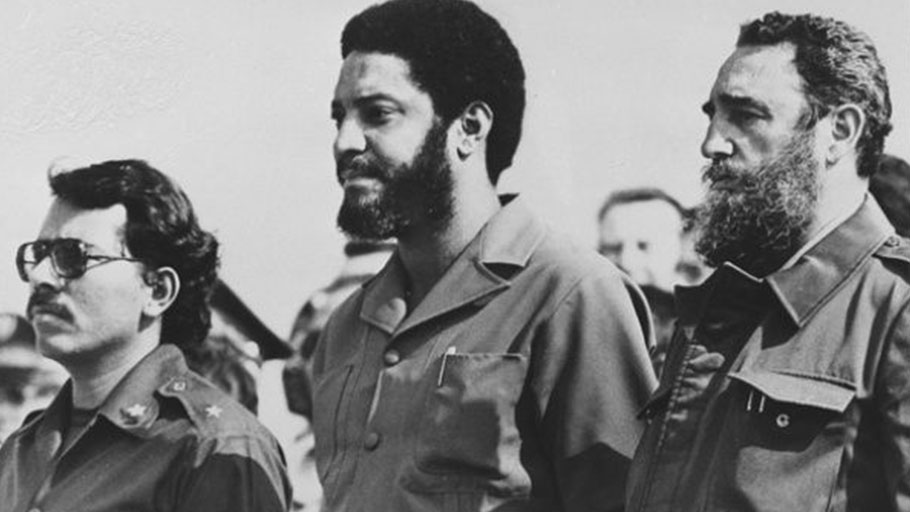 Nicaraguan leader Daniel Ortega, Maurice Bishop, and Fidel Castro at a May 1 celebration in Havana in 1980.