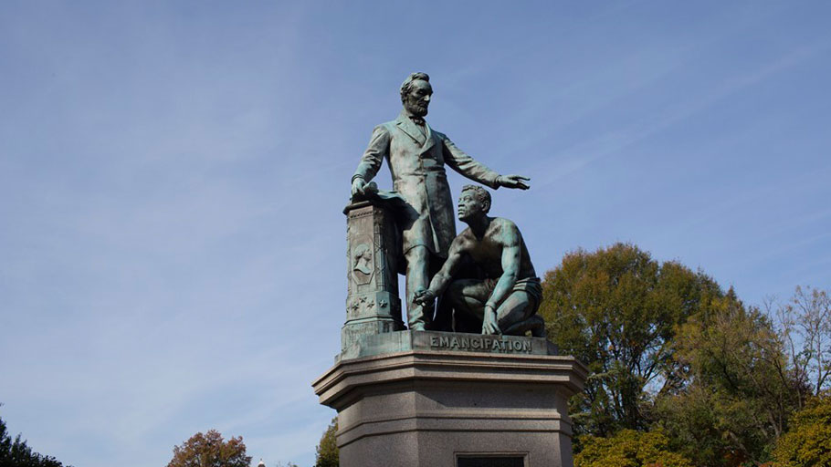 The Lincoln Emancipation Statue, paid for by former enslaved people and erected in Washington, D.C., in 1876, has been criticized for representing the history of slavery from a paternalistic perspective.