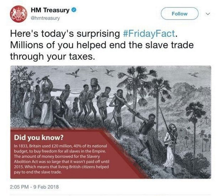Screenshot of the Treasury tweet, which has now been deleted.