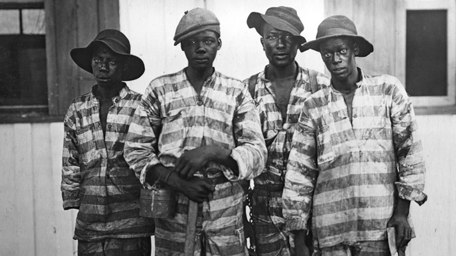 Convicts leased to harvest timber in Florida around 1915