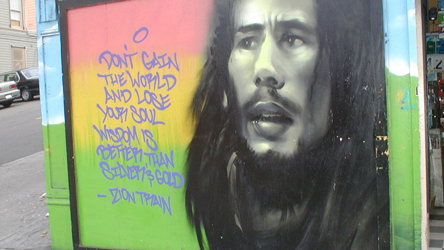 A mural of reggae icon Bob Marley