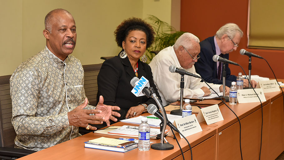 (From L to R) Sir Hilary Beckles, chair of the CARICOM Reparations Commission (CRC) and Vice Chancellor of the University of the West Indies (UWI) speaking at the press conference in Jamaica on Feb. 21. Also speaking at the press conference was Prof. Verene Shepherd, director of the Center for Reparation Research at the UWI, Mr. Michael Henry, Jamaica's Minister of Transportation and Works and Lord Anthony Gifford, member of the Jamaica Reparations Committee.