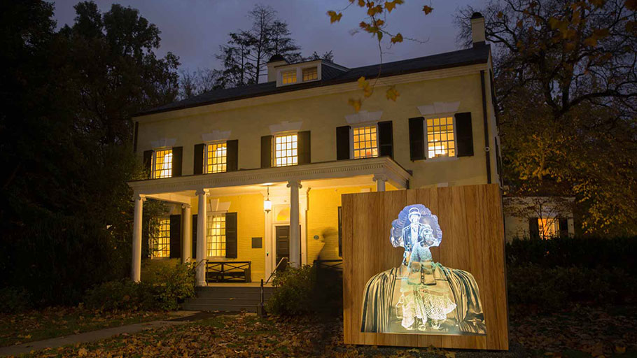 Titus Kaphar's art installation, Impressions of Liberty, which addresses the 1766 sale of six enslaved people belonging to Princeton president Samuel Finley, outside the Maclean House where the sale took place, Princeton, 2017