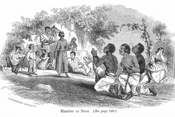 """""""Halting at Noon,"""" a wood engraving showing a slave drive through Virginia in the early nineteenth century, 1864"""