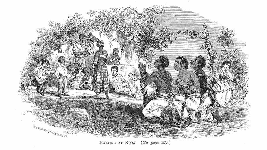 """Halting at Noon,"" a wood engraving showing a slave drive through Virginia in the early nineteenth century, 1864"