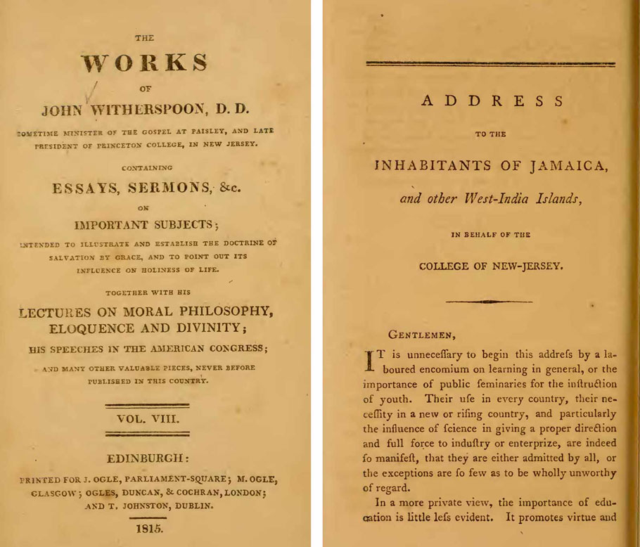 Pages from an address by John Witherspoon, then president of the College of New Jersey (now Princeton University), to slaveholders in the Caribbean on behalf of the college, 1772