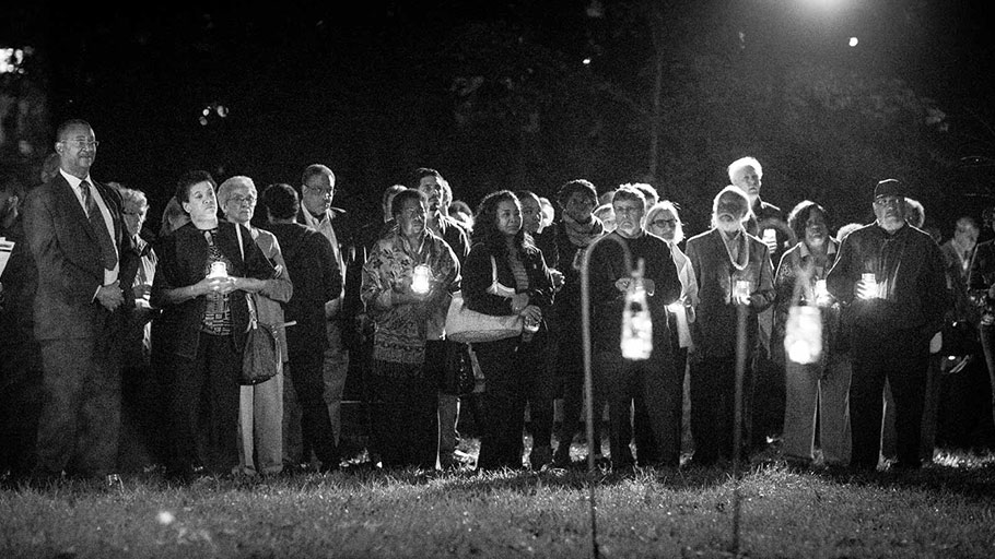 A ceremony at the Cemetery for the Enslaved, which was rediscovered in 2012, University of Virginia, Charlottesville, 2014. Photo: University of Virginia