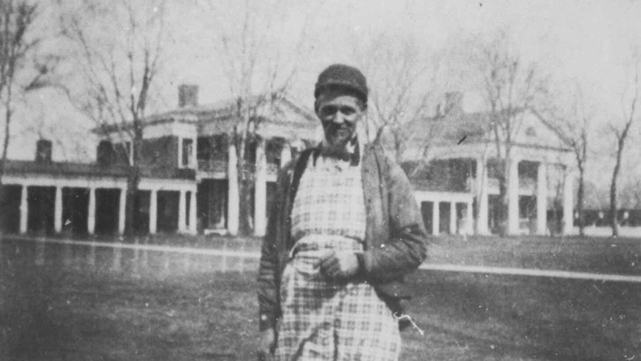 Henry Martin, born into slavery at Thomas Jefferson's Monticello estate, began working at the University of Virginia in 1850 as a waiter and then a janitor; pictured here on the UVA lawn, 1896
