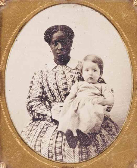 Lucy Cottrell, who was enslaved at Monticello, was purchased at Thomas Jefferson's estate sale by UVA professor George Blaettermann; pictured here holding Blaettermann's daughter, circa 1835