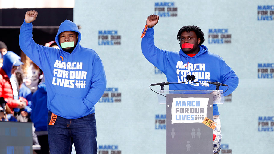Alex King and D'Angelo McDade at the March for Our Lives, Washington, DC, March 24, 2018