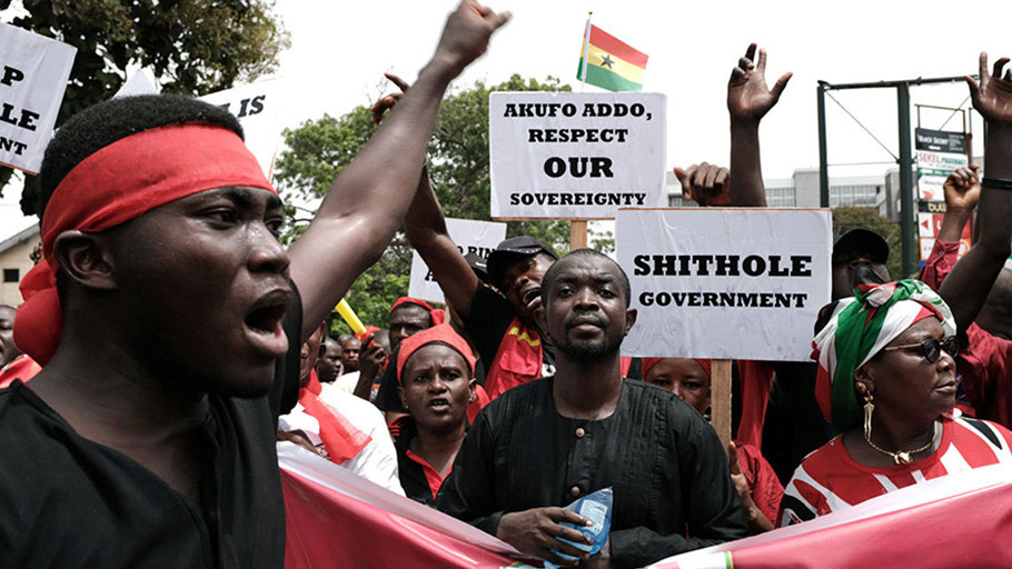'Ghana not for sale': Protesters march in Accra against military deal with US