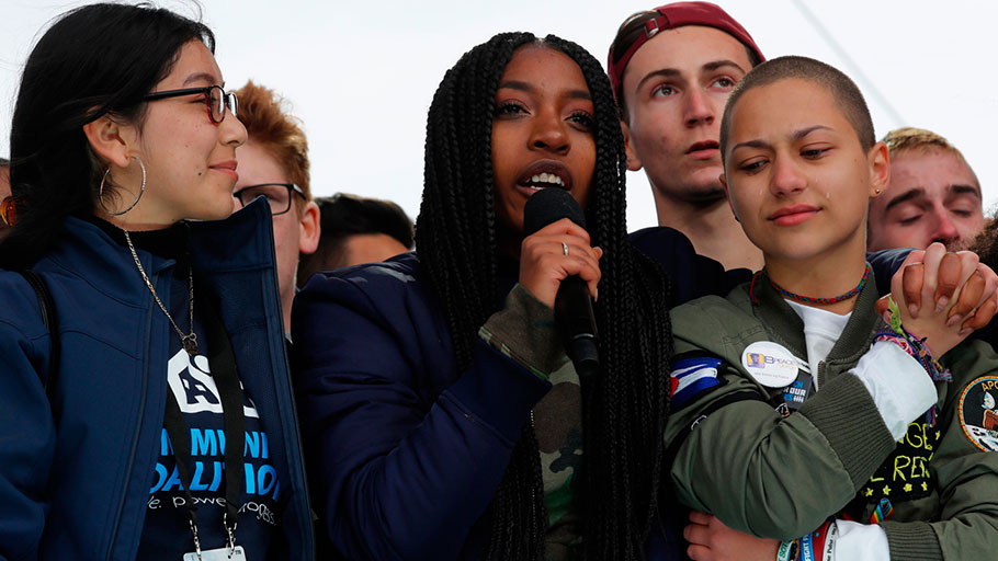 Shooting survivors Tyra Hemans and Emma Gonzalez from Marjory Stoneman Douglas High School at the March for Our Lives, Washington, DC, March 24, 2018.