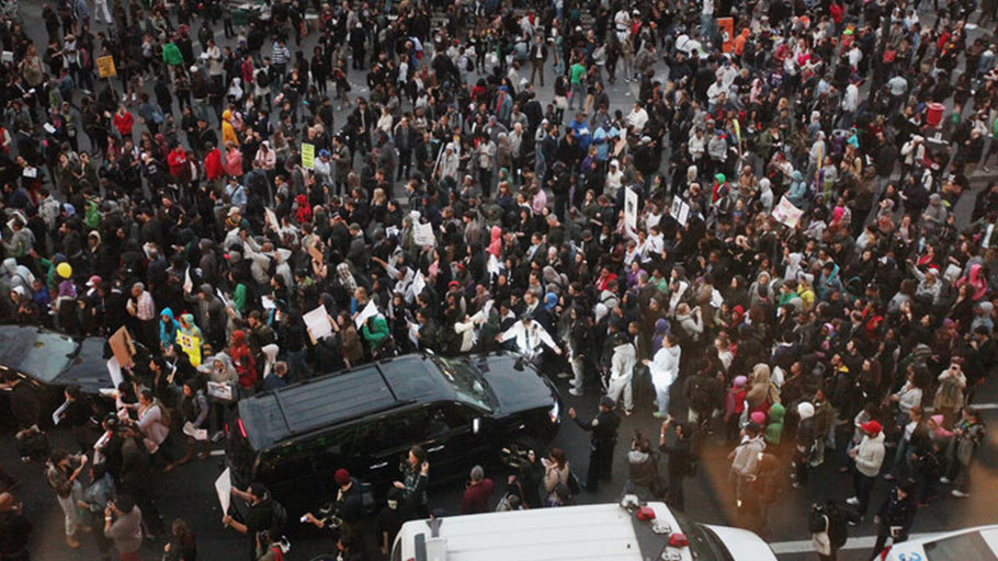Supporters of Trayvon Martin in during the Million Hoodie March in New York City on March 21, 2012.