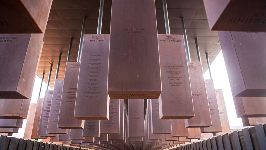 Inside the EJI memorial. Photograph: Human Pictures/Equal Justice Initiative