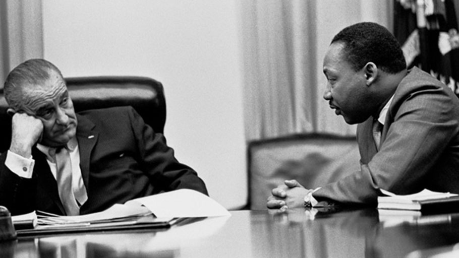 President Lyndon Johnson meets with Martin Luther King, Jr., in the White House, March 18, 1966