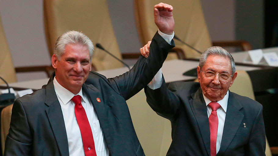 Cuban president Miguel Diaz-Canel, left, with predecessor and patron Raul Castro in Havana on April 19, 2018.