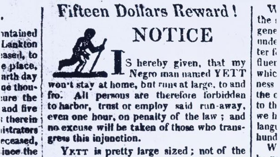 Advertisement for a fugitive slave in the Oppenheim (New York, 1824)