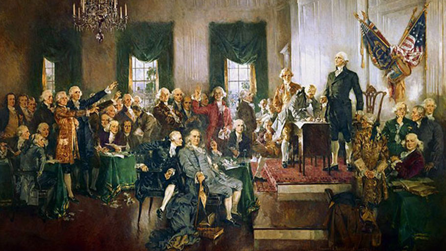 Scene at the Signing of the Constitution of the United States, by Howard Chandler Christy. (Image: Wikipedia)