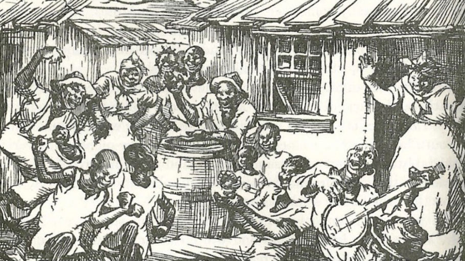 """""""Slaves at home, after the day's work was over. Negroes always have been fond of singing and dancing; and the banjo has been a favorite musical instrument with them."""" (Drawing by Hanson Booth) in Fremont P. Wirth, The Development of America (Boston, New York, Atlanta: American Book Company, 1937), 352."""