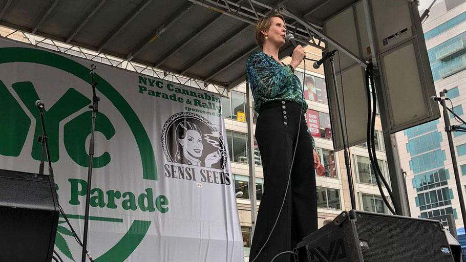 New York gubernatorial candidate Cynthia Nixon speaks at the NYC Cannabis Parade at Union Square Park on May 5, 2018.