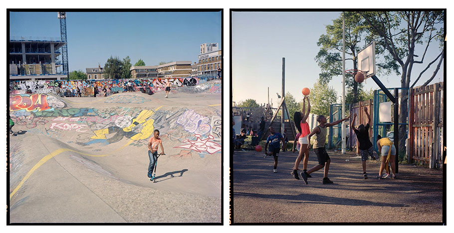 A boy rides his scooter and teenagers play basketball at Brixton parks.