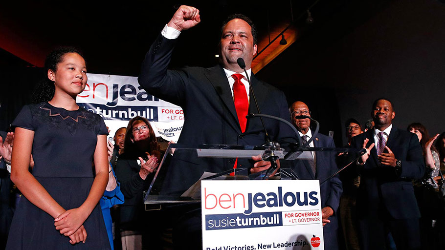 Ben Jealous addresses supporters at a primary-election-night party on June 26, 2018.