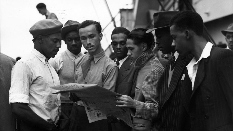 "Jamaican immigrants aboard the ""Empire Windrush"" in 1948."