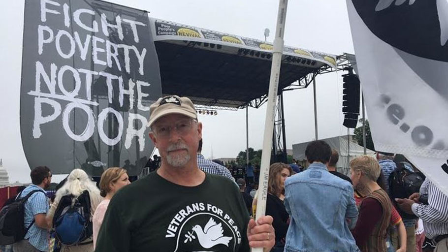 Jeff Brummer, a member of Veterans for Peace, traveled from Boston for the June 23 rally in Washington.