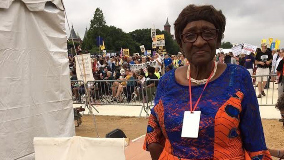 Louise Brown, 83, at the Poor People's Campaign rally in Washington, D.C., on June 23. The movement aims to link a broad array of issues: systemic racism, poverty and inequality, ecological devastation and the war economy.