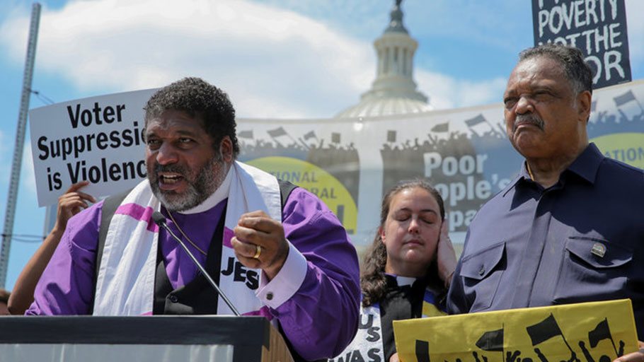 From left: The Rev. Wiliam Barber, the Rev. Liz Theoharis and the Rev. Jesse Jackson at a Poor People's Campaign rally in Washington near the start of its six-week initiative on May 21. Jonathan Ernst, Reuters