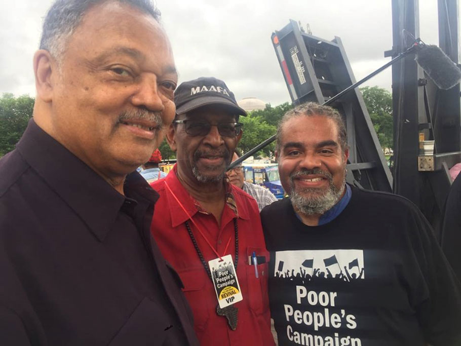 IBW President Dr. Ron Daniels with Rainbow PUSH President Rev. Jesse Jackson and Mark Thompson Host of Make It Plain Sirius XM Radio Chn 127 at the Poor Peoples' Campaign Demonstration in Washington DC