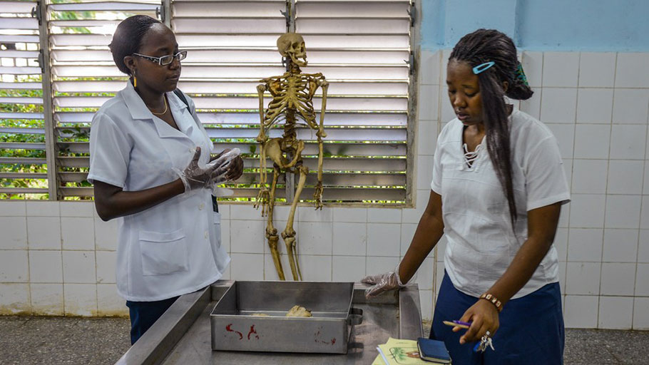 E.L.A.M., a medical school on the outskirts of Havana, offers international students who pledge to practice in underserved areas a chance to pursue medicine without incurring catastrophic debt.Photograph by Adalberto Roque / AFP / Getty